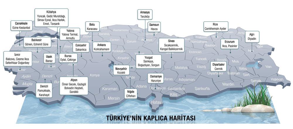 Karte der Thermalbäder der Türkei